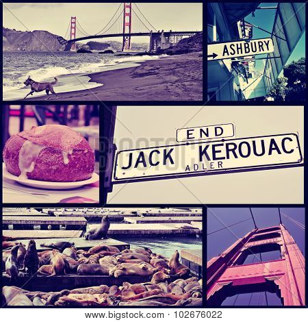 a collage of some pictures of different landmarks in San Francisco, United States, such as the Golden Gate Bridge, the sign of the Ashbury street or the sea lions in the Pier 39, cross processed