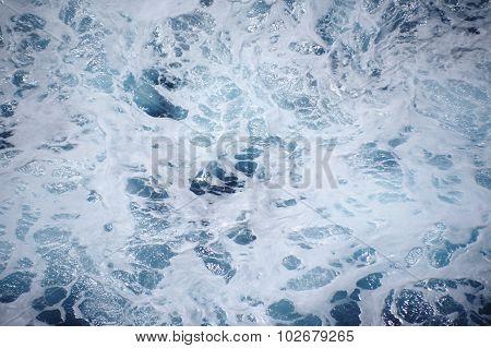 Blue Sea Water With Foam