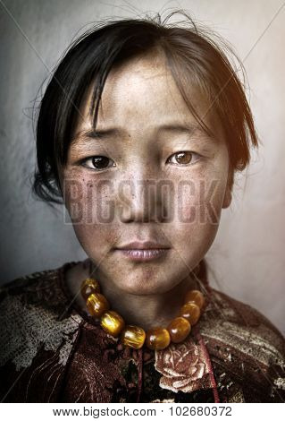 Mongolian Girl Portrait Innocent Culture Poverty Concept