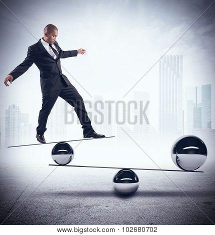 Businessman skill of balance