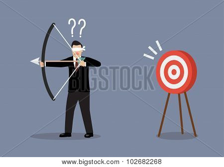Blindfold businessman look for target in wrong direction. Business concept poster