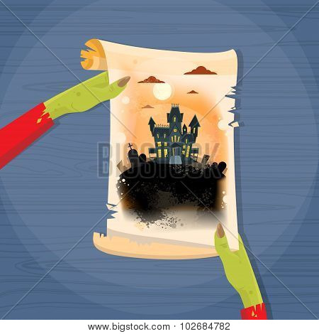 Zombie Hand Hold Ancient Manuscript Scroll Paper Halloween House Graveyard Vector Illustration poster