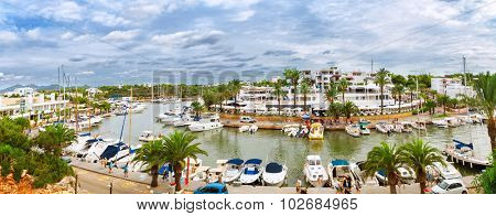Panoramic view of the Cala D'Or yacht marina harbor with recreational boats. Mallorca, Spain poster