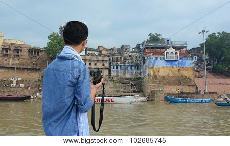 Morning View On The Ghat In Varanasi