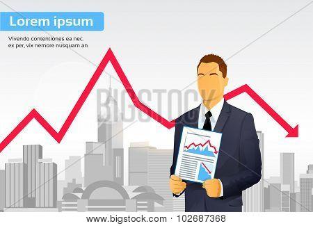 Businessman Finance Graph Crisis Red Arrow Down City Skyscraper