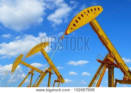 Golden Oil Pump Of Crude Oilwell Rig