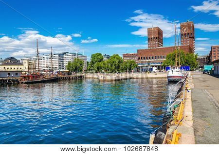 Oslo Harbour and City Hall, Fjord Norway