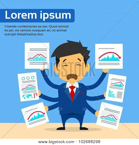Businessman Many Hands Hold Financial Paper Documents Red Negative Trend Graph Arrow Down Charts, Co