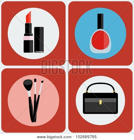 Make Up Tools Colorful Icon Set