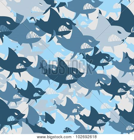 Shark Military Seamless Pattern. Army Background Of Fish. Soldiercamouflage Texture Of  Big Scary Ma
