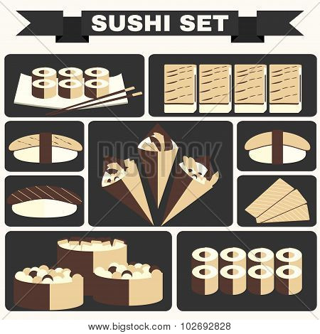 Big Colorful Icon Set Of Sushi