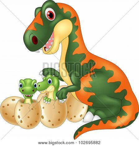 Cartoon tyrannosaurus with baby dinosaur