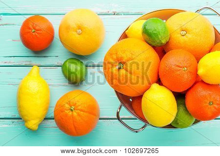 Citrus Fruits In Retro Colander.