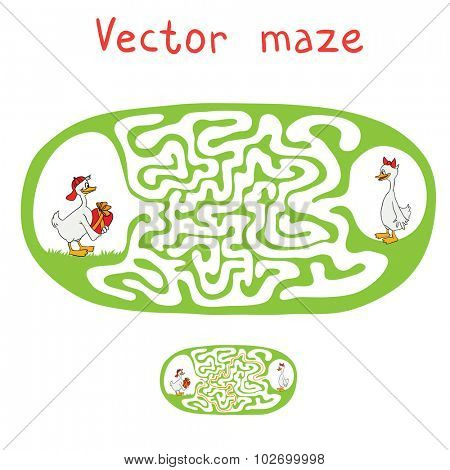 Vector Maze, Labyrinth education Game for Children with ducks