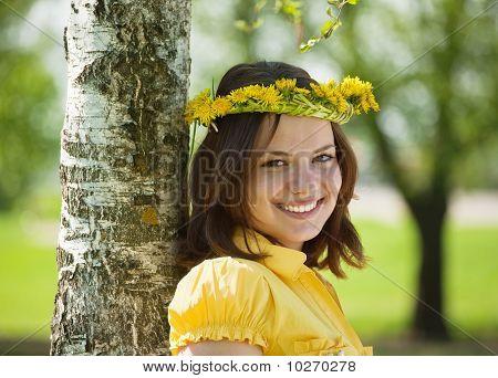 Girl In  Dandelion Wreath  Near Birch