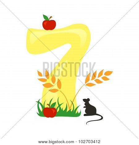Bright Number Seven From Yellow Autumn Harvest Set With Mice And Fruits
