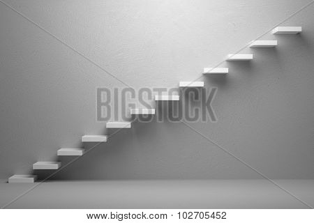 Business rise forward achievement progress way success and hope creative concept: Ascending stairs of rising staircase in white empty room with light 3d illustration poster