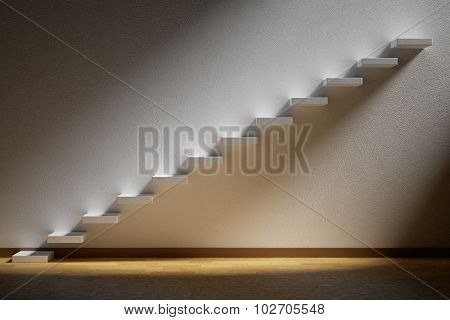 Ascending Stairs Of Rising Staircase In Dark Empty Room With Light With Parquet Floor.