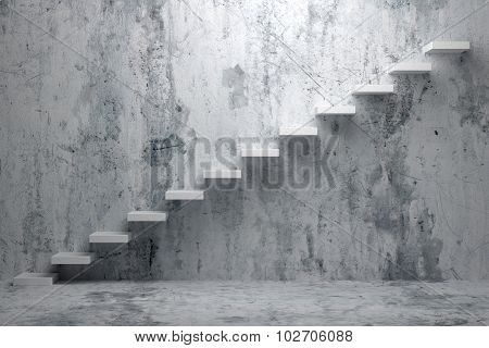 Ascending Stairs Of Rising Staircase In Rough Dark Empty Room 3D Illustration