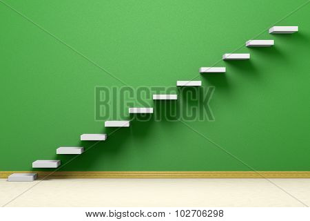 Ascending Stairs Of Rising Staircase In Empty Green Room With Beige Floor 3D Illustration