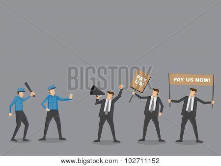 Police Vs Employees On Riot Vector Cartoon Illustration