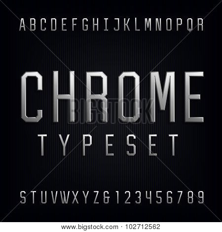 Chrome Alphabet Vector Font. Type letters, numbers and punctuation marks. Beveled metal effect letters on dark background. Vector typeset for headlines, posters etc. poster