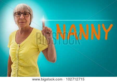 Nanny Touchscreen Is Shown By Senior Woman Concept