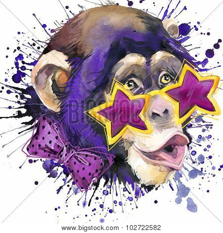 Cool monkey T-shirt graphics, monkey chimpanzee illustration with splash watercolor textured backgro