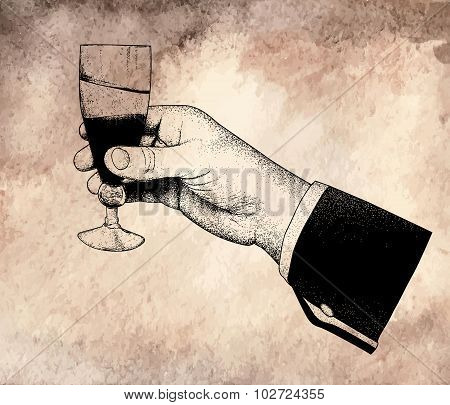 The man's hand holding glasses of champagne