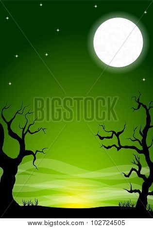 Eerie Halloween Night Background With A Full Moon