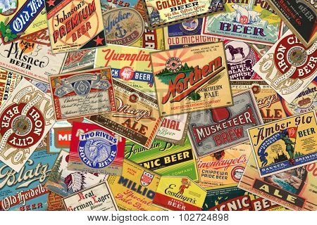 STUTTGART, GERMANY - September 24, 2015: Collection of American vintage beer labels from the 1930s-1950s.