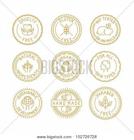 Vector Set Of Badges And Labels For Natural And Organic Cosmetics