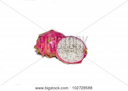 Dragon Fruit one being Dissected and isolated against White