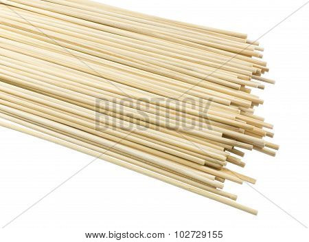 Stack Of Bamboo Skewers On A White Background