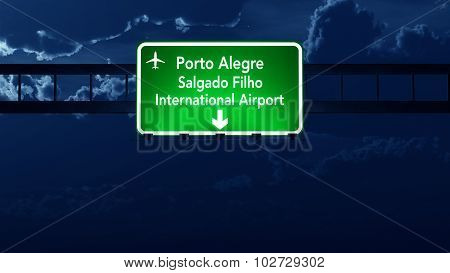 Porto Alegre Brazil Airport Highway Road Sign At Night