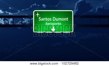 Rio De Janeiro Dumont Brazil Airport Highway Road Sign At Night