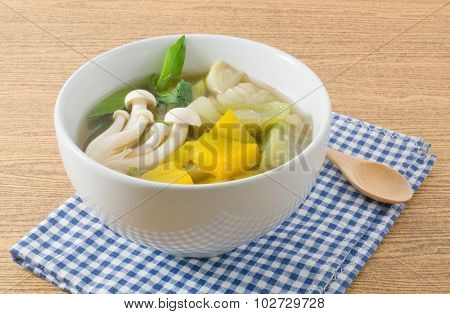 Thai Spicy Mixed Vegetables Soup On White Bowl