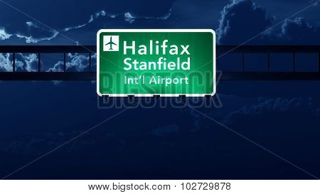 Halifax Stanfield Canada Airport Highway Road Sign At Night