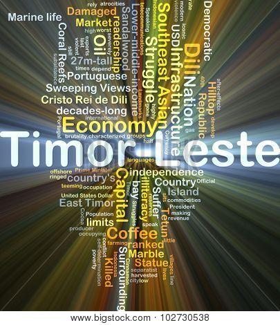 Background concept wordcloud illustration of Timor-Leste glowing light