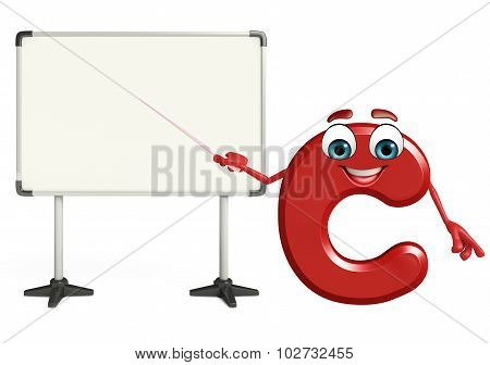 Cartoon Character Of Alphabet C With Display Board