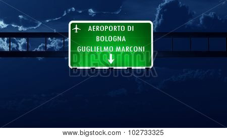 Bologna Italy Airport Highway Road Sign At Night