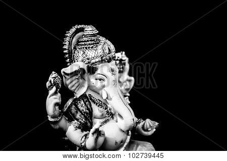 Ganesh (ganapati- Elephant God) In Hindusim Mythology Closeup Hold The Weapons Maze And Axe