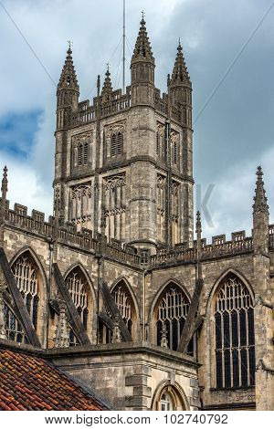 cathedral and historic Bath Abbey, city of Bath, Somerset, England poster