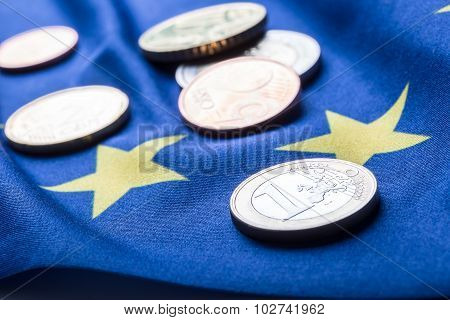 Euro coins. Euro currency. Euro money. European flag and euro money.