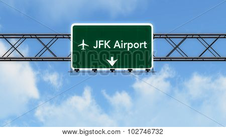 New York Jfk Usa Airport Highway Sign
