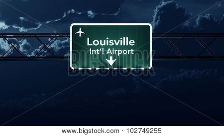 Louisville Usa Airport Highway Sign At Night