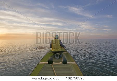 Enjoying The Sunset From The Canoe