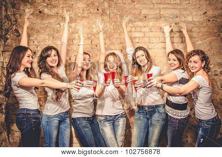 Girls Celebrate A Bachelorette Party Of Bride.
