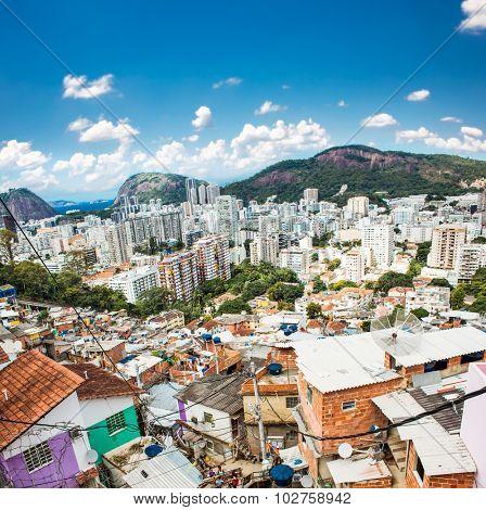 Aerial view of Botafogo district from the Santa Marta favela (slum) in Rio de Janeiro, Brazil.
