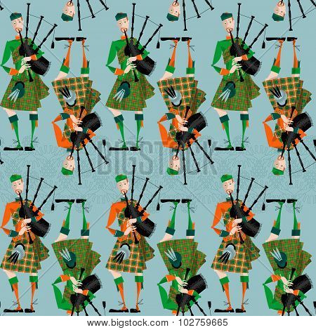 Scottish Bagpiper In Uniform. Seamless Background Pattern.
